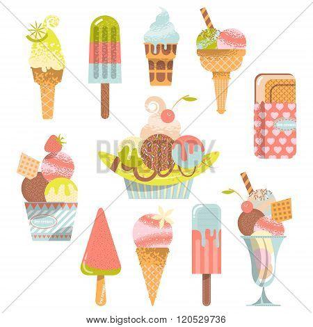 Different Flavors Of Ice Cream.