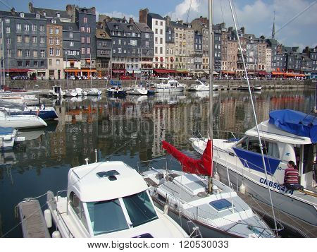 Typical Houses In The Port Of Honfleur