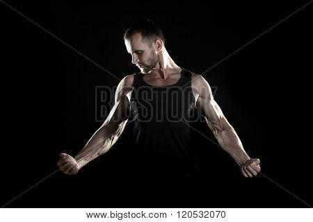 muscular man,  hand, pumped up muscles, black background