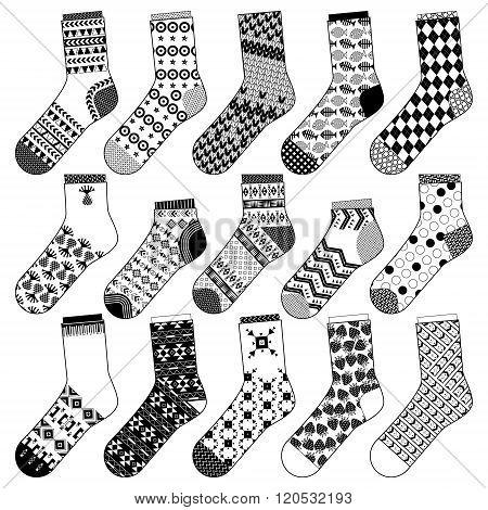 Set Of 15 Various Socks. Black And White.