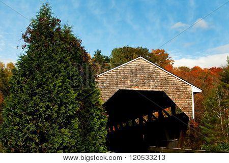 Wooden Covered Bridge In Autumn