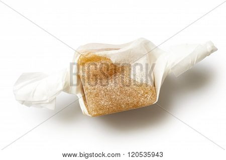 Single Luxury Wrapped Caramel Toffee Isolated From Above.
