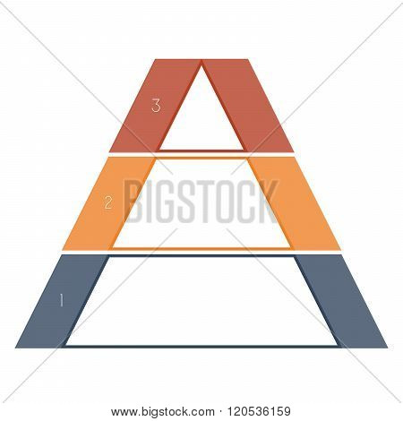 Numbered Template Infographics Colorful Pyramid, Text Area 3 Positions
