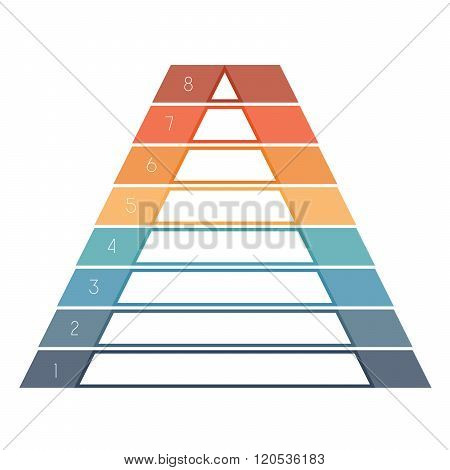 Numbered Template Infographics Colorful Pyramid, Text Area 8 Positions
