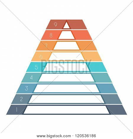 Numbered Template Infographics Colorful Pyramid, Text Area 9 Positions