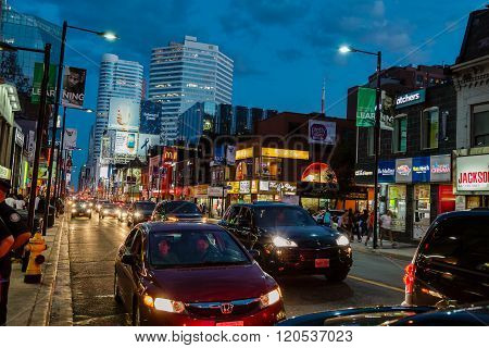 nice  view of Toronto downtown night life view background
