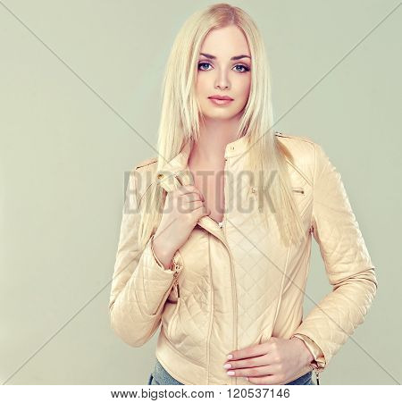 Beautiful model blonde beige leather jacket