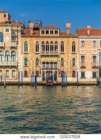 VENICE ITALY - 15TH MARCH 2015: A view of colorful buildings along the Grand Canal in Venice.