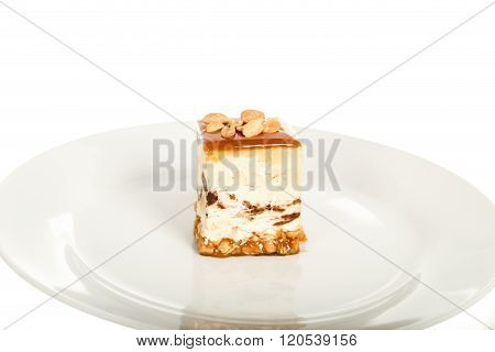 Peanuts Cheesecake Isolated On White Background
