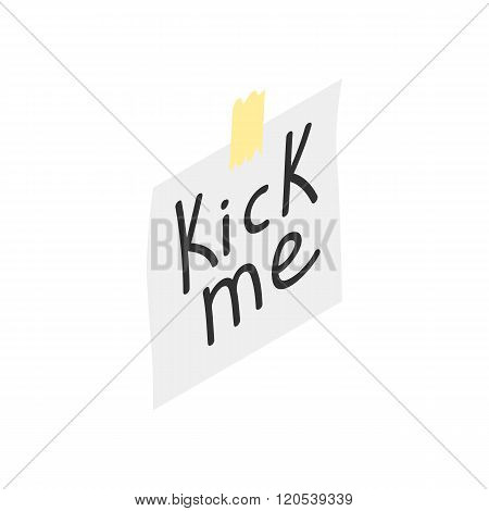 Kick me note icon, isometric 3d style