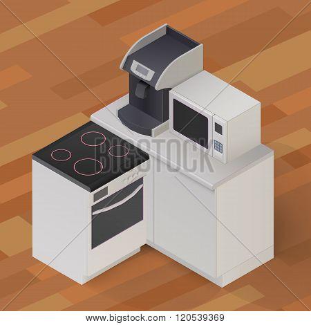 Isometric Kitchen Stuff Vector Illustration