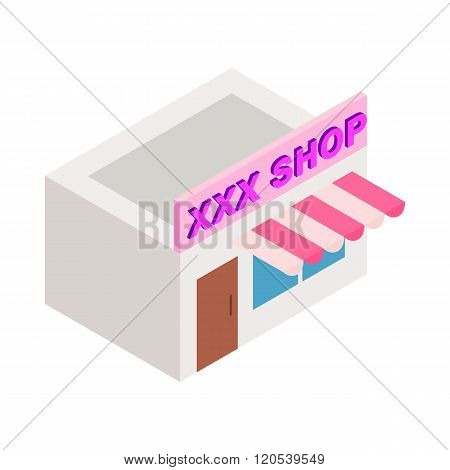 XXX shop building icon, isometric 3d style