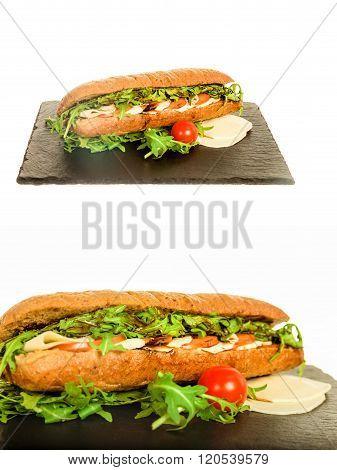 Homemade Italian Club Bread With Chicken Salami, Tomato And Lettuce
