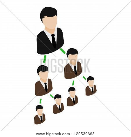 Office hierarchy pyramid icon, isometric 3d style