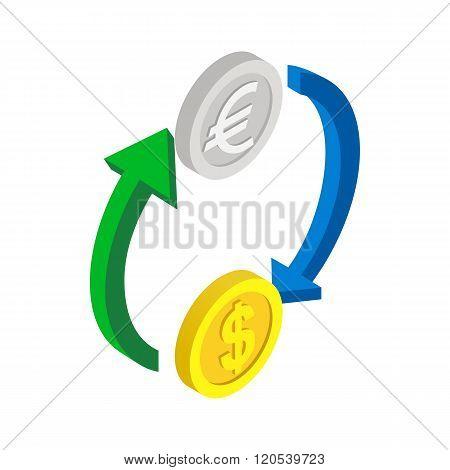 Exchange of money icon, isometric 3d style
