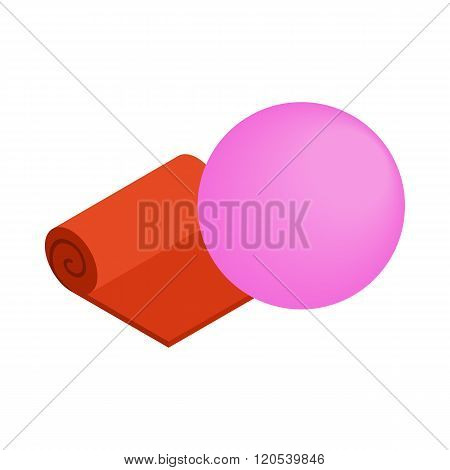 Orange yoga mat and pink fitness ball icon