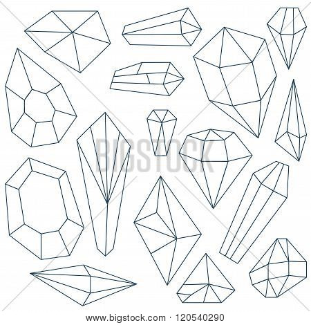 Set Of Mineral Crystals On White Background