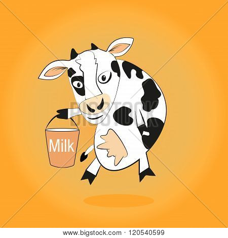 Smiling cow gives milk bucket