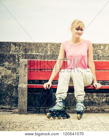 Woman With Roller Skates Outdoor.