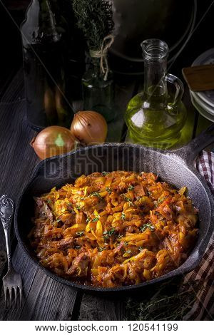 Stewed Cabbage  In A Vintage Frying Pan