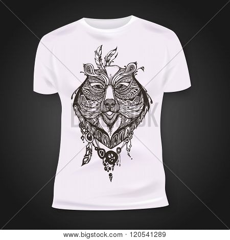 T-shirt print design with hand-drawn mehendi bear head.  Ethnic african, indian, totem tatoo design.
