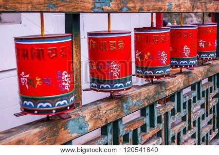 Buddhist Prayer Wheels At Mongolian Meditation Center