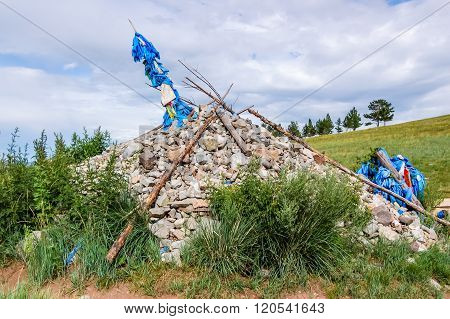 Mongolian Stone Shrine For Travelers