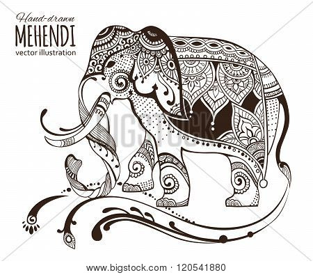 Hand-drawn mehendi elephant.  Ethnic african, indian, totem tatoo design.