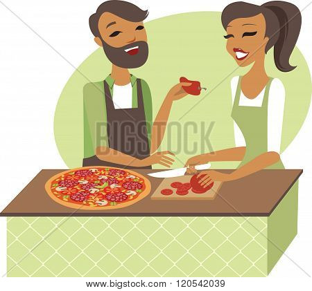 Young Couple Preparing Pizza Together