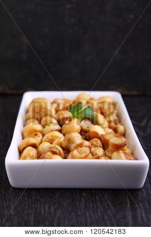 Fried Mushrooms(champignon) With The Marinade Of Mustard, Honey And Garlic