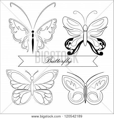 Set Of Butterflies Silhouettes Isolated