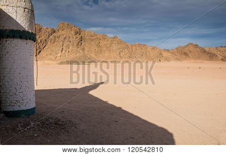 Shadow Of A Mosque And The Desert, Egypt