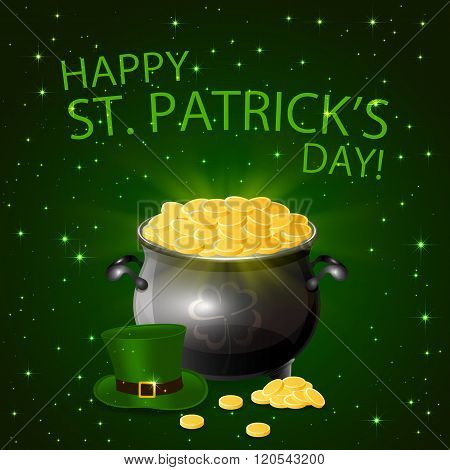 Patricks Day Background With Leprechaun Gold