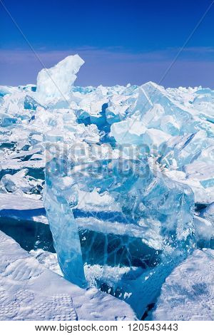 Baikal ice blocks