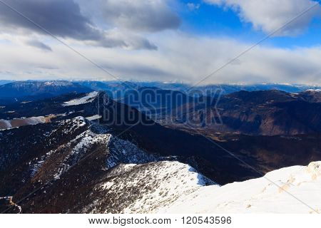 Winter panorama from Italian alps top of a mountain Cima Larici Asiago.