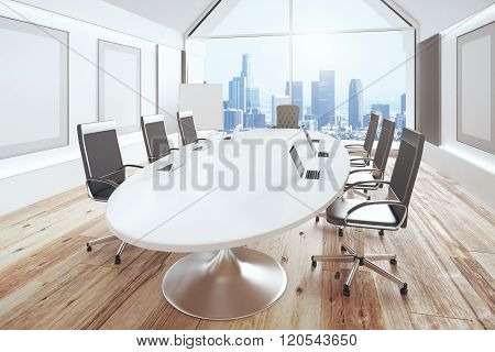 Modern Conference Room With Oval Table, Wooden Floor And City View, 3D Render