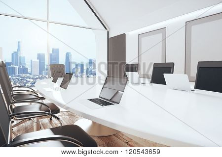 Modern Conference Room With Oval Table, Chairs, Laptops, Big Window And City View, 3D Render