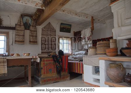 Kiev, Ukraine - October 06, 2015: Interior and utensils in the house of a peasant. National museum