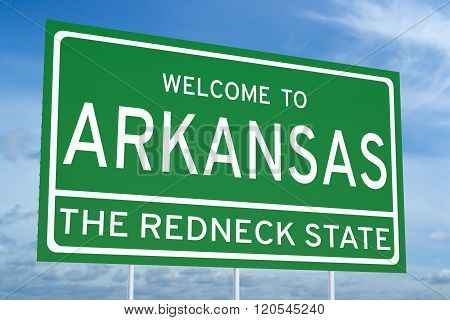 Welcome to Arkansas state concept on road sign