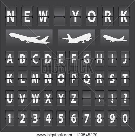 vector alphabet of black mechanical panel