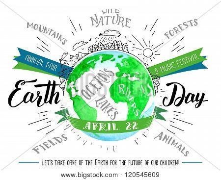 Earth Day Calligraphy And Watercolor Flyer
