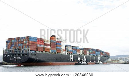 Cargo Ship Hanjin United Kingdom Departing The Port Of Oakland
