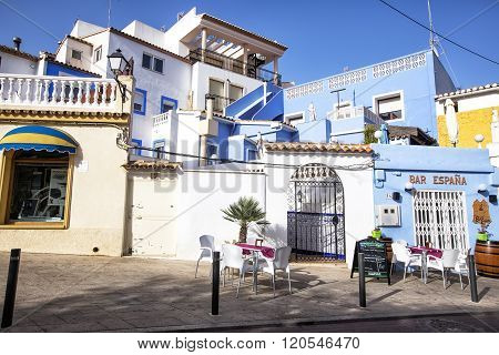 Street Of The Old Town In The Center Of Calpe. Alicante. Spain.