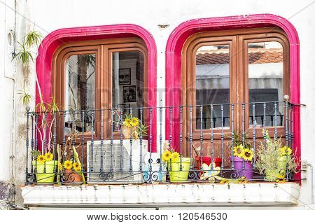 CALPE,SPAIN - FEBRUARY 22, 2016:    A typical decorative balcony in the old town in Calpe in Spain.
