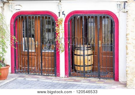 CALPE,SPAIN - FEBRUARY 22, 2016:    A typical decorative door in the old town in Calpe in Spain.