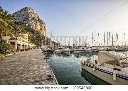Calpe Alicante Marina Boats With Penon De Ifach Mountain.