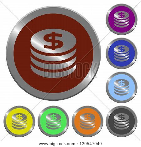 Color Dollar Coins Buttons