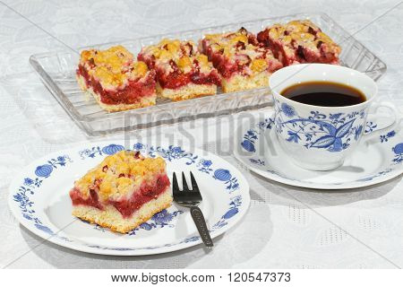 Swett homemade plum cake on a plate