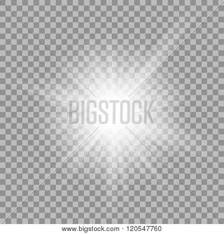White glowing light burst on transparent background.