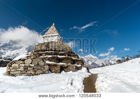 Buddhist stupa in mountains Everest region Nepal